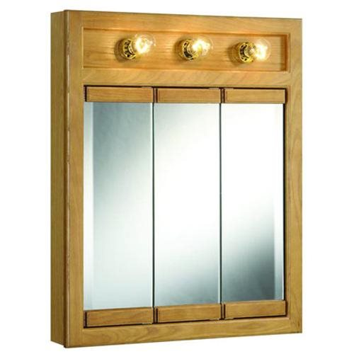 "24"" x 30"" Richland Nutmeg Oak Lighted Tri-View Wall Cabinet Mirror with 3-Doors"