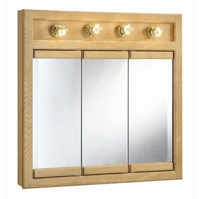 "Richland Nutmeg Oak 4-Light Tri-View Wall Cabinet, 30"" by 30"""