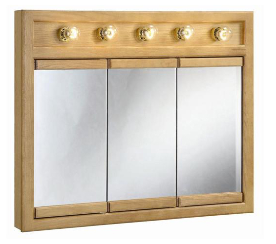 "36"" x 30"" Richland Nutmeg Oak Lighted Tri-View Wall Cabinet Mirror with 3-Doors"