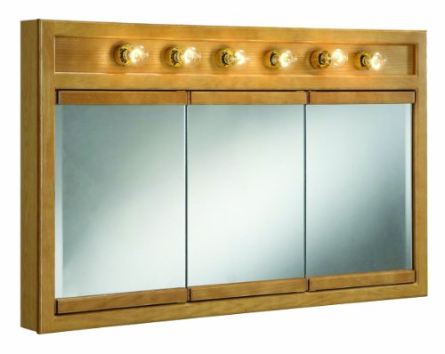 "Richland Nutmeg Oak 6-Light Tri-View Wall Cabinet, 48"" by 30"""