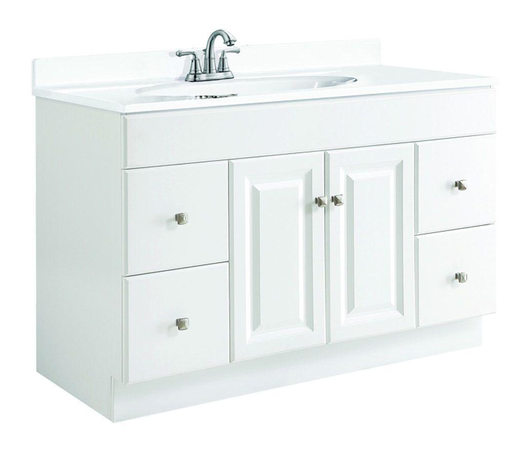 48x21x31.5 Wyndham White Semi-Gloss Vanity Cabinet with 2-Doors & 4-Drawers