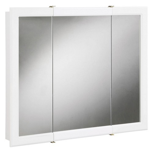 Concord White Gloss Tri-View Medicine Cabinet Mirror with 3-Doors