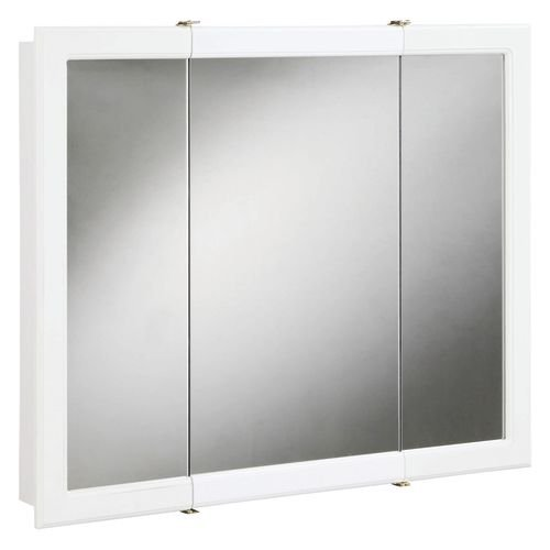Concord White Gloss Tri-View Medicine Cabinet Mirror with 3-Doors and 2-Shelves