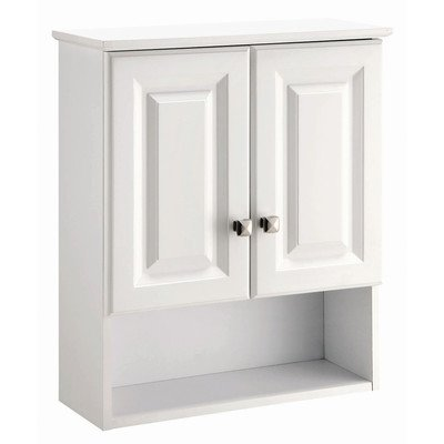 "Wyndham White Semi-Gloss Bathroom Wall Cabinet with 2-Doors & 1-Shelf, 22"" by 8"" by 26"""
