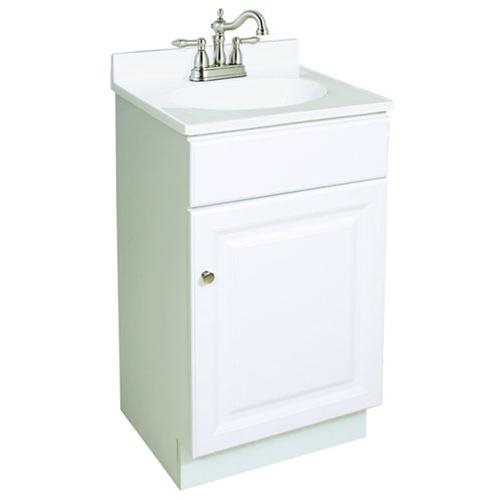 "Wyndham White Semi-Gloss Vanity Cabinet with 1-Door, 18"" by 16.25"" by 31.5"""