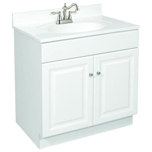 "Wyndham White Semi-Gloss Vanity Cabinet with 2-Doors, 24"" by 18.5"" by 31.5"""
