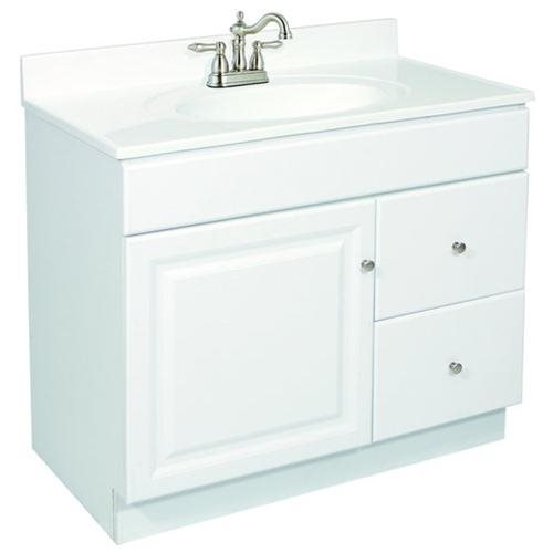 "36""x18"" Wyndham Ready-To-Assemble 1 Door/2 Drawer Vanity, Semi-Gloss White"