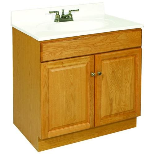 "Claremont Honey Oak Vanity Cabinet with 2-Doors, 24"" by 18.5"" by 31.5"""