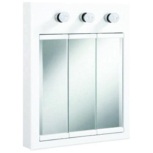 Concord White Gloss Lighted Medicine Cabinet Mirror with 3-Doors and 2-Shelves