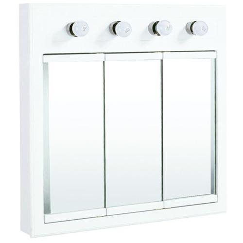 "Concord White Gloss Lighted Medicine Cabinet Mirror, 30"" by 5"" by 30"""