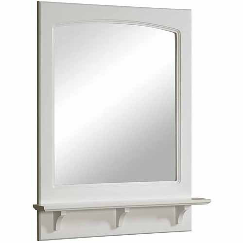 "Concord White Gloss Mirror with Shelf, 25.6"" by 4"" by 31"""