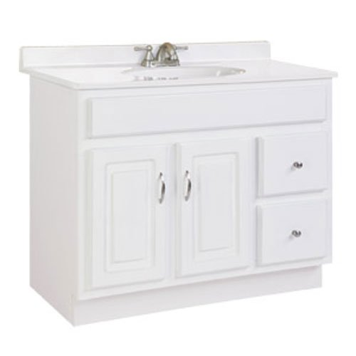"Concord White Gloss Vanity Cabinet with 2-Doors and 2-Drawers, 36"" by 21"" by 30"""