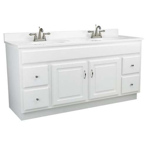 "Concord White Gloss Vanity Cabinet with 2-Doors and 4-Drawers, 60"" by 21"" by 30"""