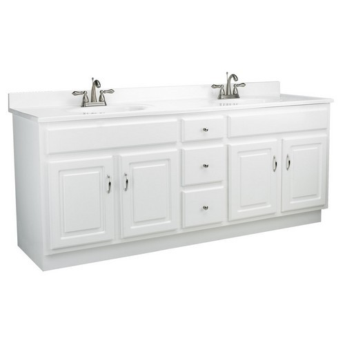 "Concord White Gloss Vanity Cabinet with 4-Doors and 3-Drawers, 72"" by 21"" by 30"""