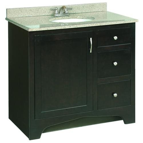 "Ventura Espresso Vanity Cabinet with 1-Door and 2-Drawers, 36"" by 33.5"""