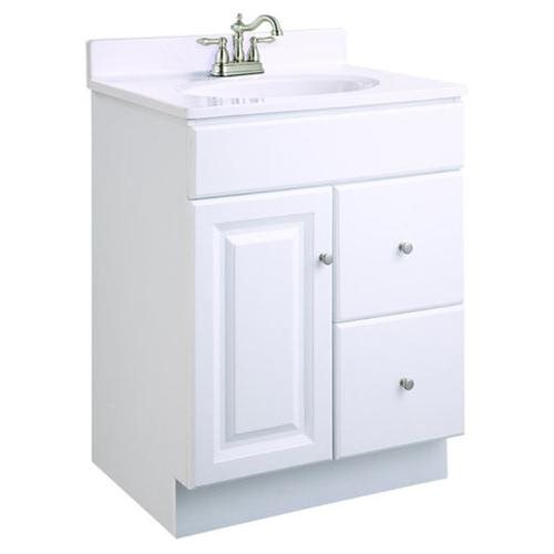 "Wyndham 24""x18""x31.5"" Vanity Cabinet with 1-Door & 2-Drawers, Semi-Gloss White"