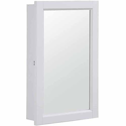Concord White Gloss Medicine Cabinet Mirror with 1-Door and 2-Shelves