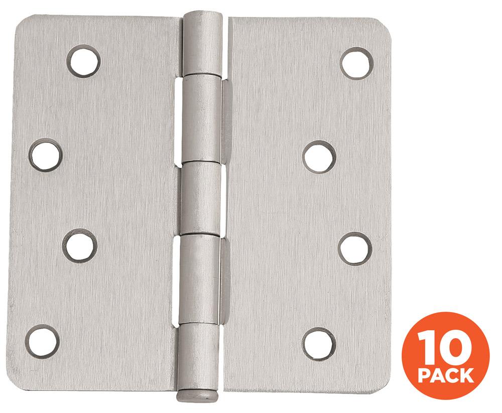 """10-Pack Hinge 4"""", Satin Nickel"""