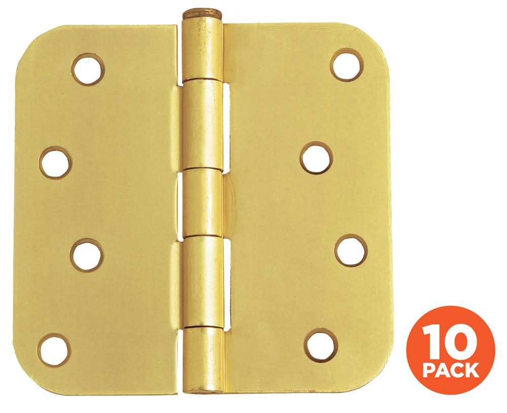 "10-Pack Hinge 4"", Satin Brass"