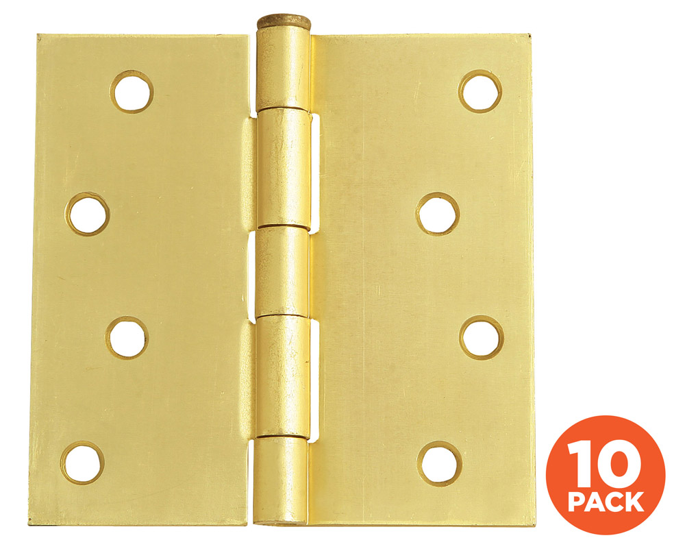 "10-Pack Hinge 4"", SQ Satin Brass"