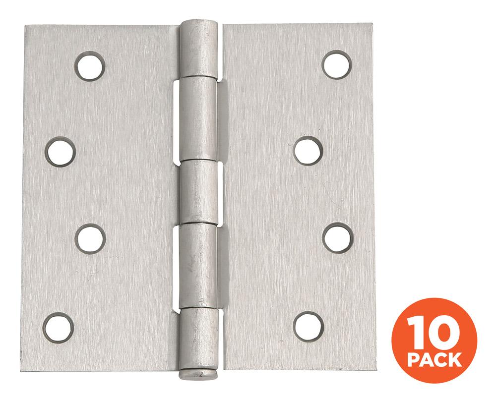 """10-Pack Hinge 4"""", SQ Satin Nickel"""
