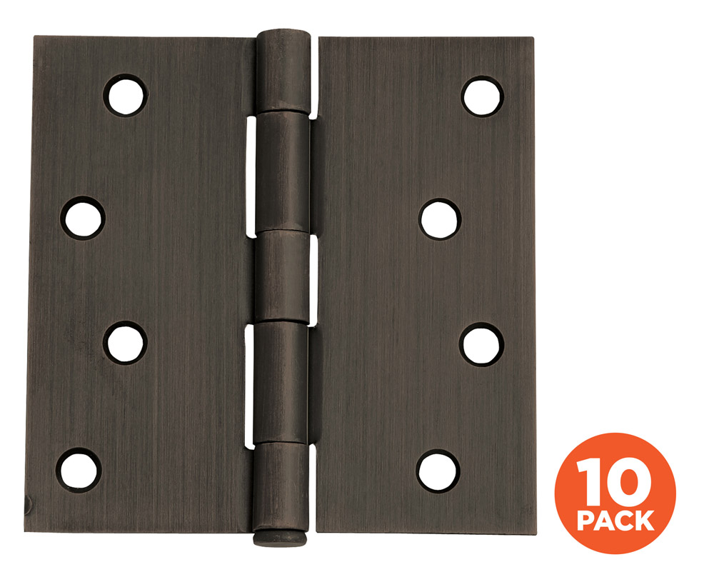 "10-Pack Hinge 4"", SQ Oil Rubbed Bronze"