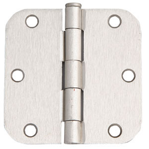 6-Hole 5/8-Inch Radius Door Hinge, 3.5-Inch by 3.5-Inch, Satin Nickel