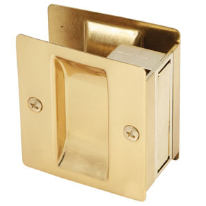Rectangular Pocket Door Passage, Polished Brass
