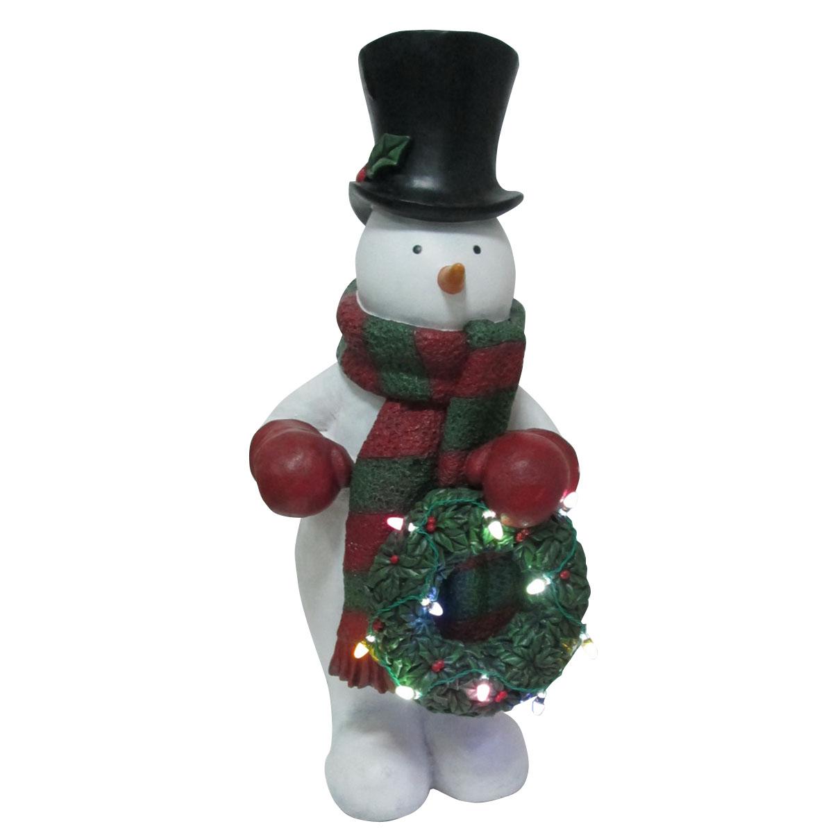 "Design House 24"" LED Snowman Holding Wreath Light-Up Lawn Decoration"