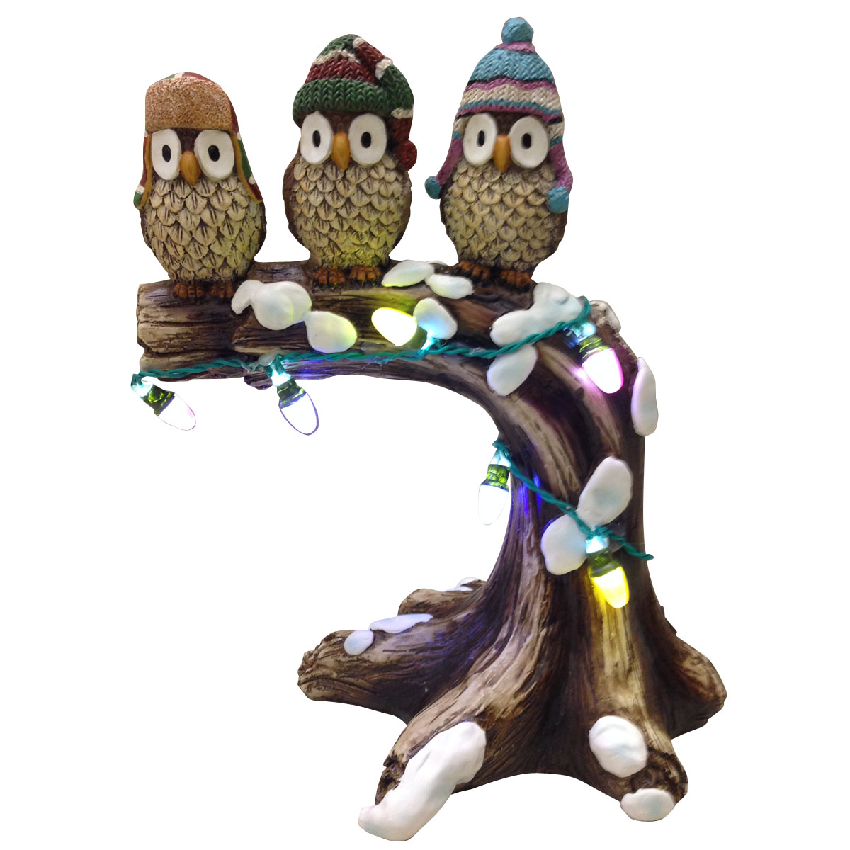 """Design House 10.6"""" LED Owls on a Tree Branch Light-Up Lawn Decoration"""