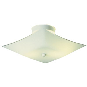 2-Light 11.2-Inch White Square Glass Ceiling Mount, White