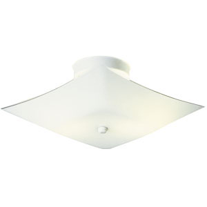 2-Light 13.5-Inch White Square Glass Ceiling Mount, White