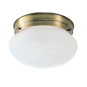 1-Light Ceiling Mount, Antique Brass