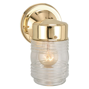 Jelly Jar Outdoor Downlight, 4.5-Inch by 7.5-Inch, Polished Brass