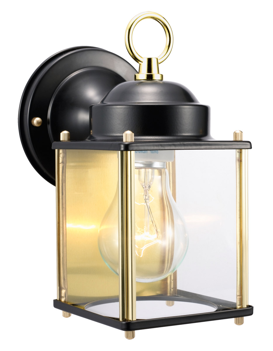 Coach Outdoor Downlight, 4.5-Inch by 8-Inch, Black and Polished Brass