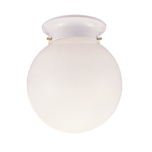 1-Light Glass Globe Ceiling Mount, White