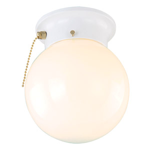 1-Light Glass Globe Ceiling Mount with Pull Chain, White