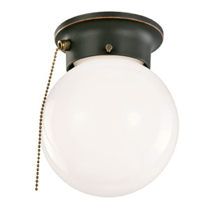 1-Light Ceiling Mount Globe Light with Pull Chain, Oil Rubbed Bronze
