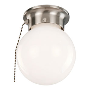 1-Light Ceiling Mount Globe Light with Pull Chain, Satin Nickel