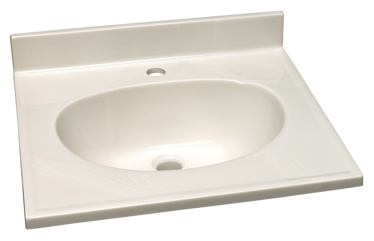 "Design House 522045 Cultured Marble Single Faucet Hole Vanity Top 19"", White on White"