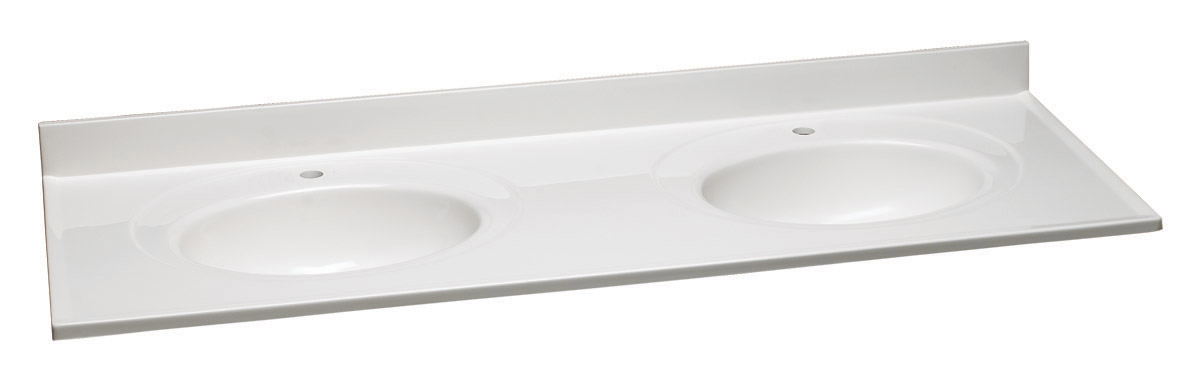 """Design House 522144 Cultured Marble Single Faucet Hole Double Vanity Top 61"""", Solid White"""