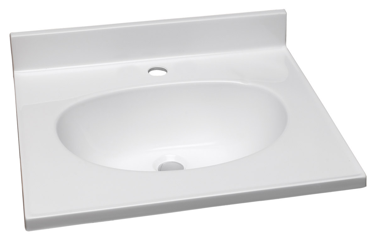 """Design House 522193 Cultured Marble Single Faucet Hole Vanity Top 25"""", Solid White"""