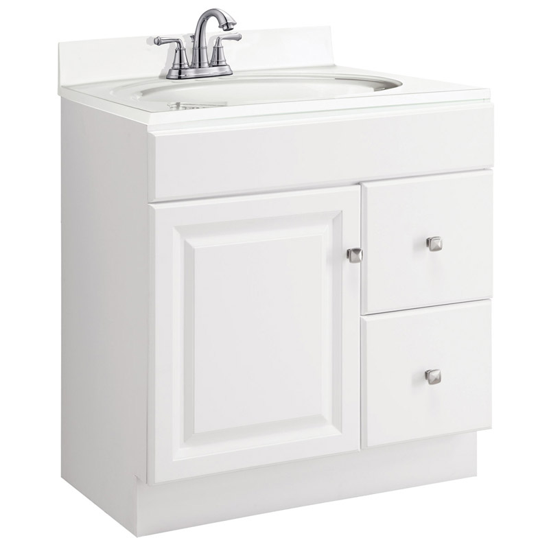 Wyndham White Semi-Gloss Vanity Cabinet with 1-Door and 2-Drawers, 30-Inches by 18-Inches by 31.5-Inches