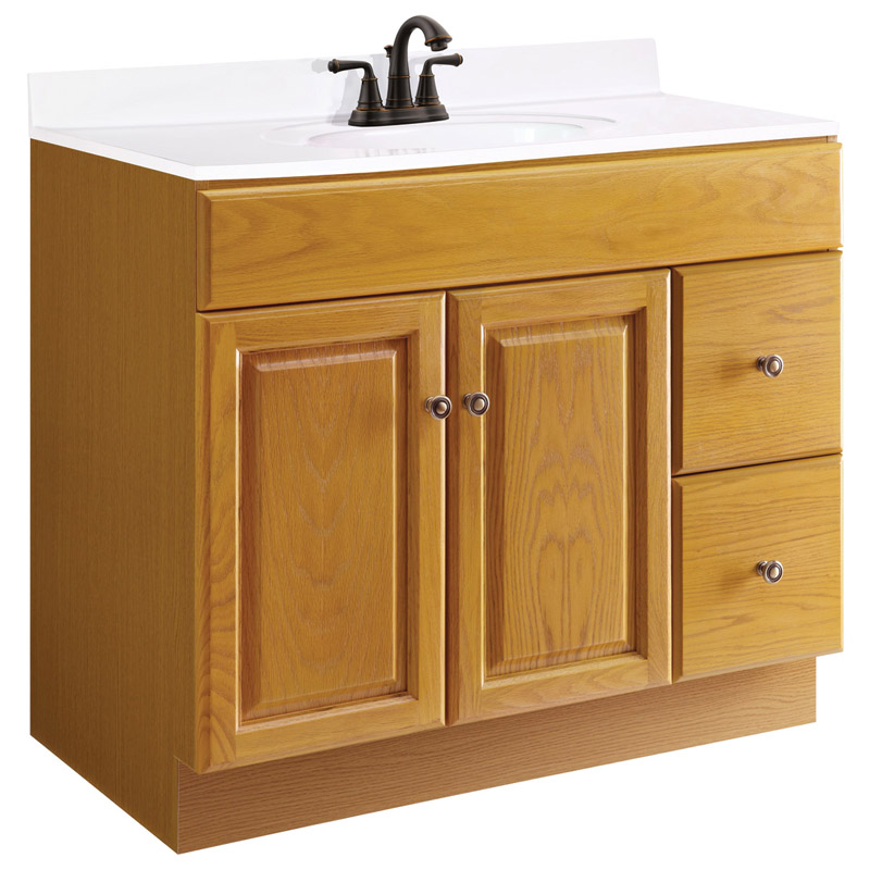 Claremont Honey Oak Vanity Cabinet with 2-Doors and 2-Drawers, 36-Inches by 18-Inches by 31.5-Inches
