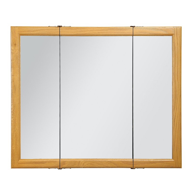 Claremont Honey Oak Tri-View Medicine Cabinet Mirror with 3-Doors, 36-Inches by 30-Inches