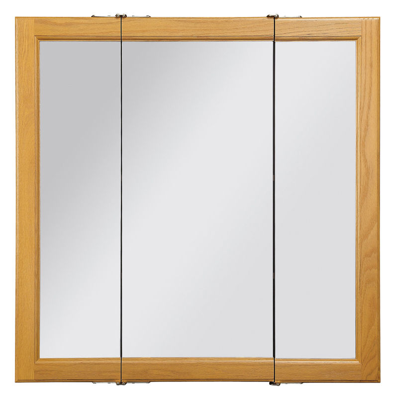 Claremont Honey Oak Tri-View Medicine Cabinet Mirror with 3-Doors, 30-Inches by 30-Inches