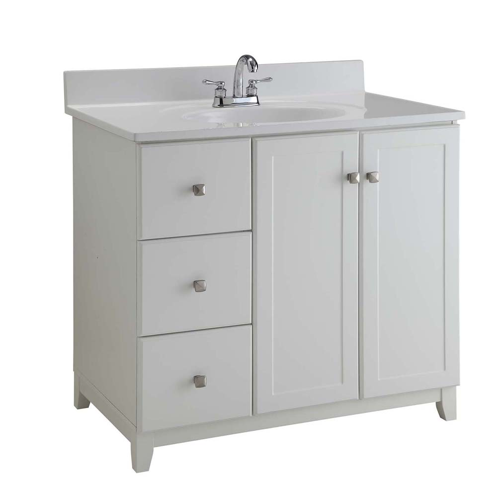 Design House 547166 Furniture-Style Vanity Cabinet, 36-inches by 21-inches, Semi-Gloss White