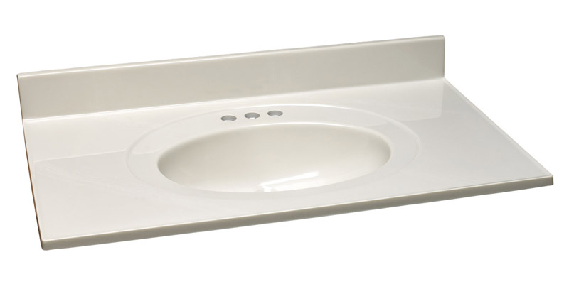 Single Bowl Marble Vanity Top, 25-Inch by 19-Inch, White