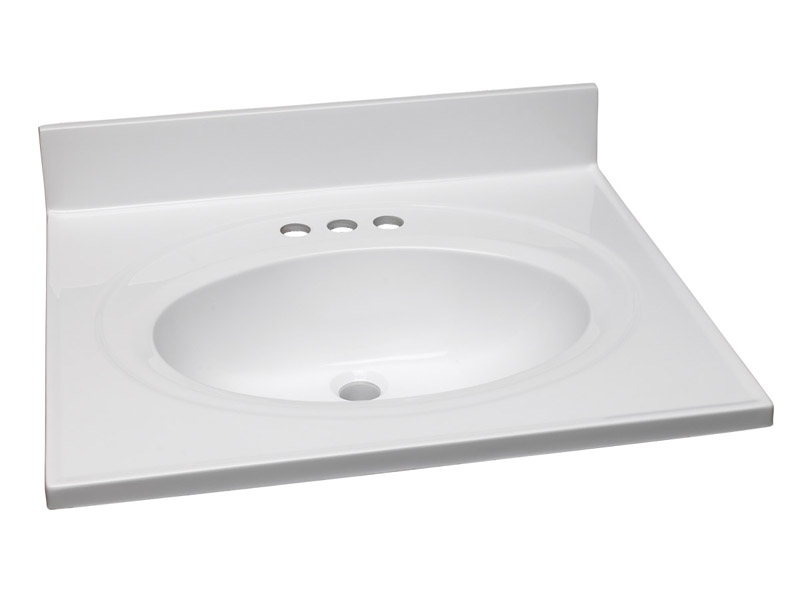 Single Bowl Marble Vanity Top, 25-Inch by 22-Inch, Solid White