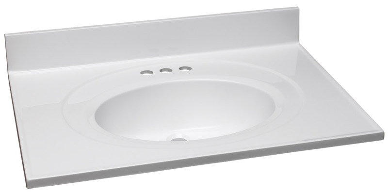 Single Bowl Marble Vanity Top, 31-Inch by 22-Inch, Solid White